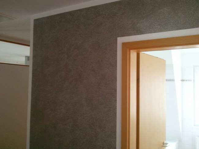 wand wischtechnik in grau mit wei en effekt pigmenten direkt vom handy. Black Bedroom Furniture Sets. Home Design Ideas